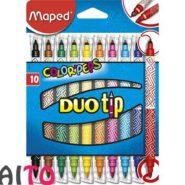 ماژیک رنگ آمیزی دو سر مپد 20 رنگ 10 عددی مدل DUO Tip کد 849010