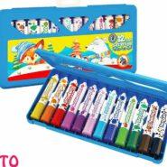 مداد شمعی 12 رنگ آریا مدل پیچی نرم کیفی کد 2060