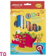 مداد شمعی آریا بسته 2 + 12 رنگ جعبه مقوایی کد 2027