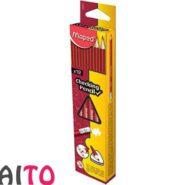 مداد قرمز مپد پاک کن دار سه گوش کد 838510 بسته 12 عددی