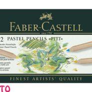 پاستل مدادی 12 رنگ فابر کاستل مدل PITT جعبه فلزی کد 23112112