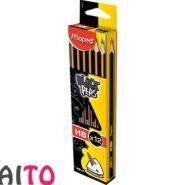 مداد مشکی مپد سه گوش پاک کن دار مداد HB کد 851721 بسته 12 عددی