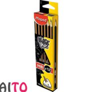 مداد مپد مشکی سه گوش ته صدفی مداد HB کد 850021 بسته 12 عددی