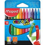 مداد شمعی 12 رنگ مپد جعبه مقوایی کالر پپس وکس کد 861011