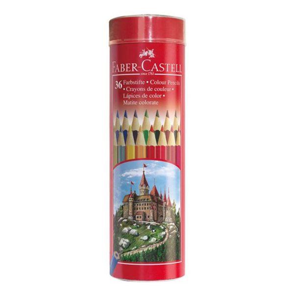 مداد رنگی 36 رنگ فابر کاستل جعبه استوانه ای فلزی