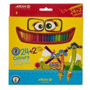 مداد رنگی 24 رنگ آریا جعبه مقوایی مدل 3017