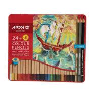 مداد رنگی آریا 3+24 رنگ جعبه فلزی مدل 3022
