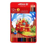 مداد رنگی آریا 3+12 رنگ جعبه فلزی مدل 3021