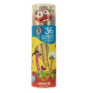 مداد رنگی 36 رنگ آریا جعبه استوانه ای مدل 3053