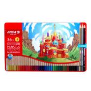 مداد رنگی آریا 3+36 رنگ جعبه فلزی مدل 3023