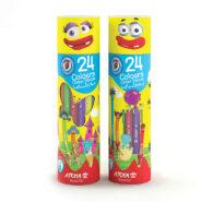مداد رنگی 24 رنگ آریا جعبه استوانه ای مدل 3052