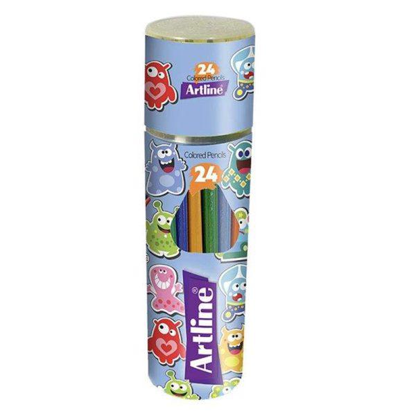 مداد رنگی 24 رنگ آرت لاین جعبه استوانه ای مدل ESP24-PLR/IL