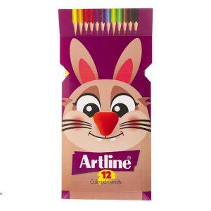 مداد رنگی آرت لاین 12 رنگ جعبه مقوایی مدل ECP12PIL