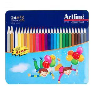 مداد رنگی آرت لاین 26 رنگ جعبه فلزی