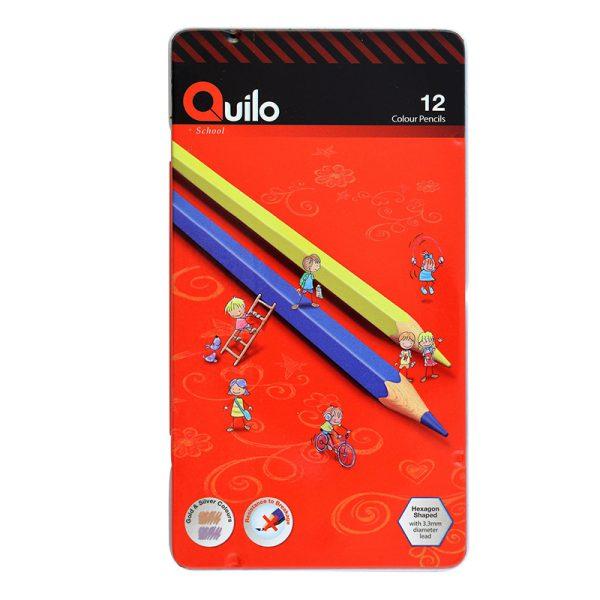 مداد رنگی کویلو 12 رنگ جعبه فلزی کد 634006