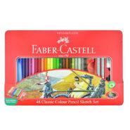 مداد رنگی فابر کاستل 48 رنگ مدل classic جعبه فلزی