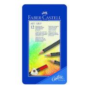 مداد رنگی 12 رنگ فابر کاستل مدل Art grip جعبه فلزی
