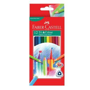 مداد رنگی 12 رنگ فابر کاستل مدل Tri colour جعبه مقوایی